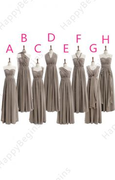 8 styles mismatch bridesmaid dresses Long grey by HappyBegins, $89.00