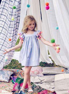 Nellystella Chloe Dress in Blue Pin Stripe