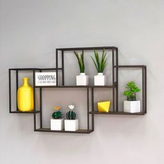 Metal and Wood Shelf - Decora Home Home Decor Shelves, Wall Shelves Design, Wood Shelves, Shelf Wall, Storage Design, Wall Storage, Iron Furniture, Steel Furniture, Home Decor Furniture