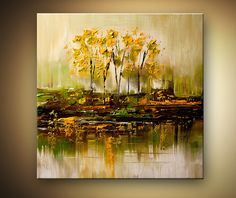 bunch of trees reflected in swamp - Landscape and Modern Art Painting