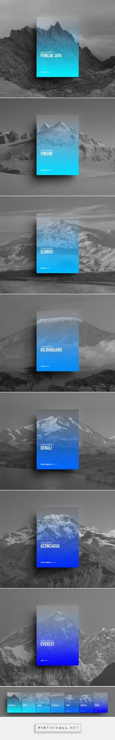Seven Summits Posters Designed by Riccardo Vicentelli | In order of height: Puncak Jaya for Oceania, Vinson for Antarctica, Elbrus for Europe, Kilimanjaro for Africa, McKinley for North America, Aconcagua for South America and finally Everest for Asia.  The simplicity of the poster easily conveys the message. Photography incorporated into the design. Cool hues.