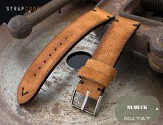 20mm, 21mm, 22mm MiLTAT Saddle Brown Genuine Nubuck Leather Watch Strap, Black Stitching, Sandblasted Buckle