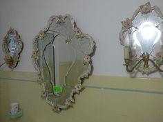 Miroir et deux appliques en verre de Venise ( dimensions du miroir: