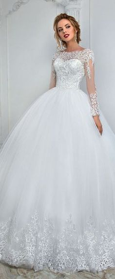 Elegant Tulle Bateau Neckline Ball Gown Wedding Dress With Lace Appliques & Beading