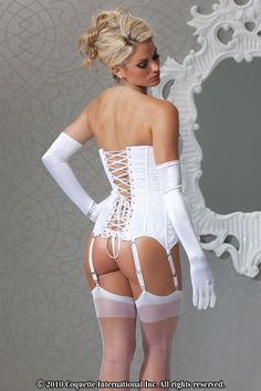 Strapless Fully Boned Satin & Lace Up Back Corset Top w/ Hook & Eye. Perfect for a bride's special wedding day, honeymoon, or to wear it for your newly wed husband!  Available in plus size. GiseleLima.com offers FREE discreet shipping on all of our Sexy lingerie, clothing, plus size, bridal, stockings, costumes, gift sets, erotic adult novelties & more. Lace over satin corset w/ center front hook & eye closure features center back lace up detailing & removable garters & straps.