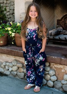 Navy Floral Tie Romper Romper Ryleigh Rue Clothing Mommy and Me Shopmvb Modern Vintage Boutique Womens Boutique Online Shopping Fashion Style Mother Daughter Matching Outfits, Mommy And Me Outfits, Little Girl Outfits, Matching Family Outfits, Cute Little Girls, Modern Vintage Boutique, Floral Jumpsuit, Girls Boutique, Girls Rompers
