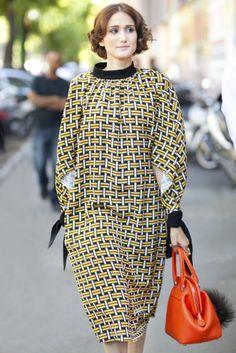 milan fashion week ss14 street style : yellow & black patterned dress & sweet haircut