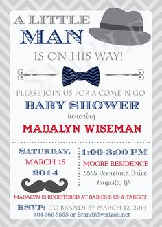Little Man Hat Mustache Bowtie Baby Shower by PartyPopInvites, $17.00