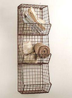 New Primitive Farmhouse Sm. Wire Wall Basket Market Bin Shelf Cubby Organizer #Country