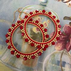 Large Red and Gold Crystal Seed Bead Hoop Earrings Beaded Jewelry Crystal Earrings by WorkofHeart on Etsy Seed Bead Bracelets, Seed Bead Earrings, Beaded Earrings, Seed Beads, Beaded Jewelry, Hoop Earrings, Crystal Earrings, Wire Jewelry, Jewelry Bracelets