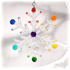Smooth Glass Snowflake Christmas by RainbowLuxGlass on Etsy