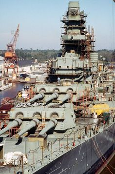 Scaffolding surrounds portions of the superstructure of the battleship Wisconsin (BB-64), 17 Sep 1987. The ship is undergoing overhaul by Ingalls Shipbuilding and is 50 percent complete.