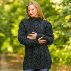 Black hand knitted mohair sweater fuzzy warm handmade SUPERTANYA unique jumper #SuperTanya #Crewneck