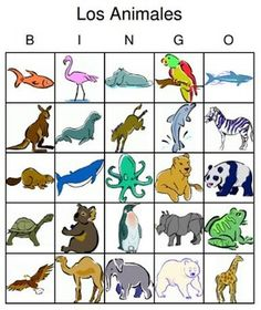Learn the names of animals in Spanish with these bright and beautiful Bingo…