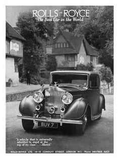 Rolls Royce car advertising from the 1930's.
