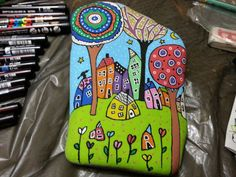 #painting #rock #houses