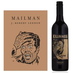 Le livre : Mailman de J. Robert Lennon, publié par Monsieur Toussaint Louverture (France). Design : Monsieur Toussaint Louverture.  Le vin : Killibinbin Scream Shiraz 2008, produit pour Brothers In Arms (Australie). Design : Hanna Backman.  —————  The book : Mailman by J. Robert Lennon, published by Monsieur Toussaint Louverture (France). Design : Monsieur Toussaint Louverture.  The wine : Killibinbin Scream Shiraz 2008, produced by Brothers In Arms (Australia). Design : Hanna Backman.
