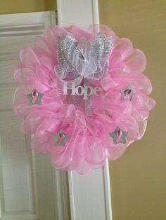 My breast cancer wreath I made. -Tamra #lovemystyleboutique
