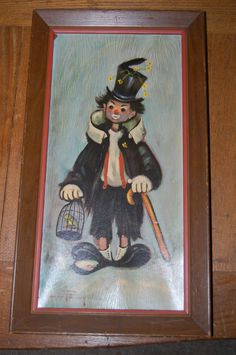 """Vintage Ozz Franco Hobo Clown Painting Print Artwork Picture Wall Hanging 10x18"""""""