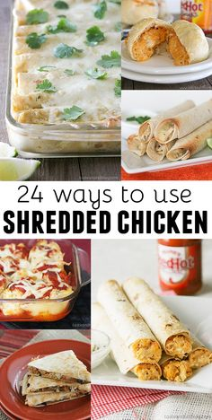 24 ways to use leftover shredded chicken - a great timesaver for busy nights! You can make chicken ahead of time and freeze it, or you can use rotisserie chicken. Leftover Shredded Chicken Recipe, Pulled Chicken Recipes, Shredded Cooked Chicken, Cooked Chicken Recipes Leftovers, Recipes With Rotisserie Chicken, Healthy Shredded Chicken Recipes, Chicken Meals, Keto Chicken, Creamy Chicken