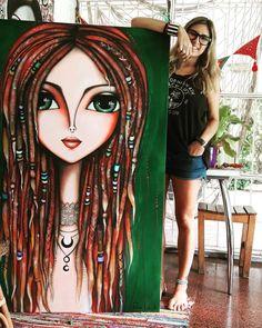 New zentangle art dibujos mujeres 49 ideas Rock Kunst, Acrylic Painting Canvas, Canvas Art, Frida Art, Turkish Art, Arte Pop, Woman Drawing, Art Abstrait, Whimsical Art