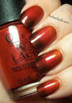 "Added By Caroline Wieland. Source: http://www.amberdidit.com/. From the tutorial: ""The polishes used are OPI Deutsch you Want Me Baby?, OPI Danke-Shiny Red, and OPI German-icure By OPI."" All three were combined in a gradient effect on her nails. So pretty! #nails #nailart @Bloom.COM"