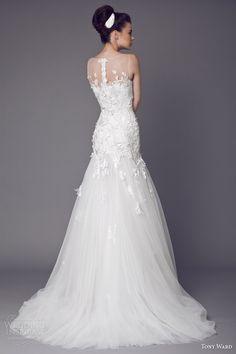 tony ward bridal 2015 stellaire sleeveless wedding dress illusion neckline back train
