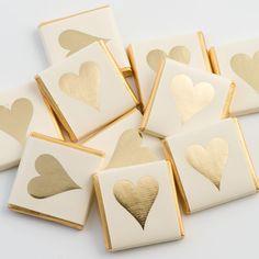 Gold Heart Chocolate Neapolitans - Wedding Sweets & Chocolates (Pack of Chocolate Wedding Favors, Gold Wedding Favors, Wedding Sweets, Diy Wedding, Wedding Ideas, Wedding Tables, Wedding Things, Elegant Wedding, Summer Wedding