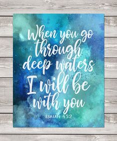Printable art   Isaiah 43:2   When you go through deep waters   blue watercolor whale Scripture print   nautical art   Bible verse wall art MADE WITH LOVE ♥ Buy 2 get 1 free coupon code: FREEBIE 16x20 print - easily reduced to 8x10 ____________________________ •Files are 300 dpi,