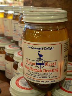 This old-school salad dressing comes with a story. Crane Crest's Real French Dressing has no website, just a phone number (617-277-1325). You leave an answering-machine message with your address, and they'll send you a case of six jars, along with a handwritten invoice for $18. They trust that you'll mail back a check. How rad is that? They've developed a cult following, since, as Pilar says, the vinaigrette is incredible on salad, fish, chicken...Aren't you curious to try it? (from: Cup of Jo)