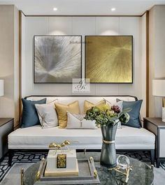 Large Abstract Acrylic Paintings, Large Wall Art, Set of Gold Leaf Art ,Original Painting ,Abstract Paintings On Canvas by Julia Kotenko by JuliaKotenkoArt on Etsy Interior Design Living Room, Living Room Designs, Living Room Decor, Toile Design, Living Room Color Schemes, Colour Schemes, Elegant Living Room, Wall Art Sets, Textured Walls