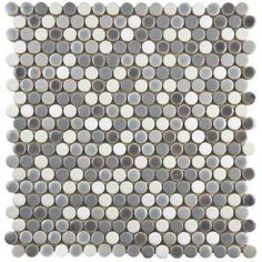 Comet Penny Round Luna 11-1/4 in. x 11-3/4 in. x 9 mm Porcelain Mosaic Tile