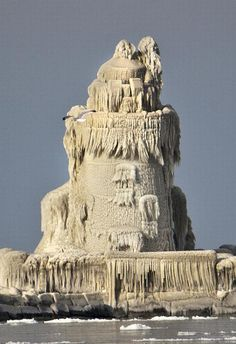 The Cleveland Harbor West Pierhead Lighthouse on Lake Eerie was turned into an incredible natural work of art thanks to high waves and freezing temperatures in December of 2010.