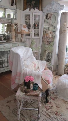 Shabby chic chippy painted softest pink by Vintagewhitecottage, $149.00