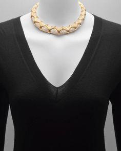 Gold & Pavé Diamond Collar Necklace 2