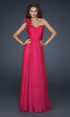 Pleated Floor Length A-line One Shoulder Sleeveless Red Chiffon Long Prom Dress /Evening Dress LPD84350