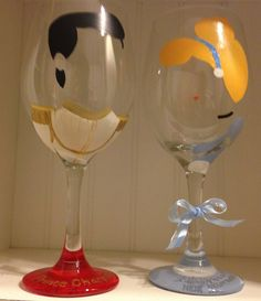 Cinderella and Prince Charming hand painted wine glass set