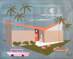 El Gato Gomez Painting Retro Mid Century Modern Atomic Ranch House Eichler Eames   eBay