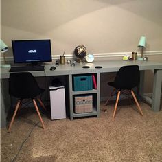 Best Two Person Desk Design Ideas for Your Home Office Workspace Office Computer Desk, Gaming Desk, Home Office Desks, Computer Workstation, Small Computer, Office Spaces, Small Corner Desk, Small Writing Desk, 2 Person Desk