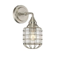 """Industrial style comes courtesy of the cages protecting each shade of clear seeded glass.  Finished in a bold English Bronze and Satin Nickel.(13""""Hx5.75""""W8.5""""D)1-100W max medium base."""