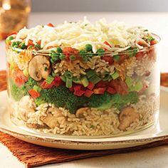 Mediterranean layered rice salad