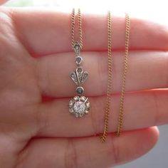 Edwardian Diamond Necklace Old European Cut Diamond by Addy