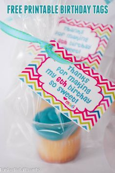 free printable birthday tags for cupcakes ** used  as tags on goody bags