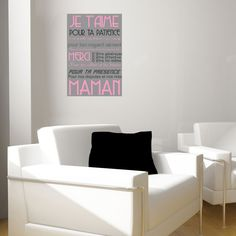 """Poster 'je t'aime maman"""". Poster personnalisé de la fête des mères. F^ter les maman avec un poster adhésif sur wallsweethome.fr"""