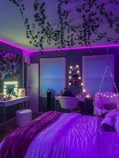 Indie Room Decor, Cute Bedroom Decor, Room Design Bedroom, Room Ideas Bedroom, Bedroom Inspo, Neon Room Decor, Bedroom Furniture, Pinterest Room Decor, Neon Bedroom