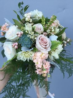 Creams, blush, muted greens and greys come together in this gardeny bouquet. Bridal Bouquets, Green And Grey, Floral Wreath, Blush, Wreaths, Flowers, Ideas, Design, Wedding Bouquets