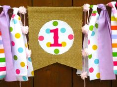 Candyland Birthday Banner Highchair High Chair by  SeacliffeCottage #sweetshoppe #pinkpurple