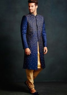 Buy online Sherwani - Hand embroidered sherwani from That 1 Too Mens Indian Wear, Indian Groom Wear, Indian Men Fashion, Male Fashion, Wedding Dresses Men Indian, Wedding Dress Men, Wedding Suits, Groom Wedding Blazers, Sherwani Groom