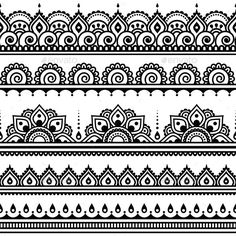 Mehndi, Indian Henna tattoo seamless pattern, design elements by RedKoala great for a border stencil on painted subfloor Henna Tattoo Muster, Mehndi Tattoo, Henna Mehndi, Henna Art, Mehendi, Ankle Henna Tattoo, Thigh Band Tattoo, Wrist Henna, Henna Tattoo Designs