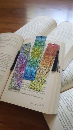 Creative Bookmarks, Paper Bookmarks, Cute Bookmarks, Watercolor Bookmarks, Cross Stitch Bookmarks, Watercolor Cards, Corner Bookmarks, Mandala Art Lesson, Mandala Drawing